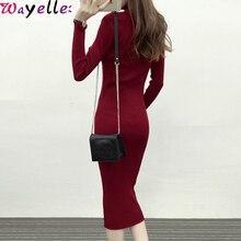 Women Sweater Long  Dress Autumn Winter Warm Turtleneck Slim Sleeve Bodycon Maxi Elegant Party