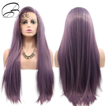 Wig Long Purple Mint-Blonde Light-Color Heat-Resistant-Fiber Lace-Front Synthetic Black Women