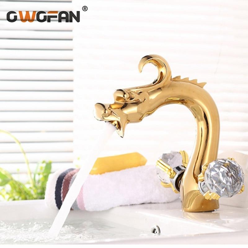 Antique plaqué or Dragon Design bassin robinet de luxe décoratif cristal salle de bains double poignée robinets mélangeur eau robinet SE-8613