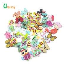 50 шт. пуговицы с изображениями животных, разные цвета, разные рисунки, деревянные пуговицы для скрапбукинга