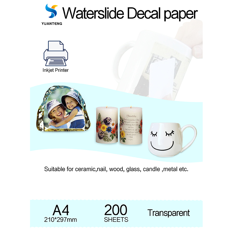 (200pcs/lot) Inkjet Water Slide Decal Paper A4 Size Stitcker Transfer Paper Transparent Color Waterslide Decal Paper For Nail