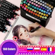 Conjunto de rotuladores de doble punta, Set de 30/80/168/262 colores, marcadores a base de Alcohol para dibujo artístico, escuela y Manga