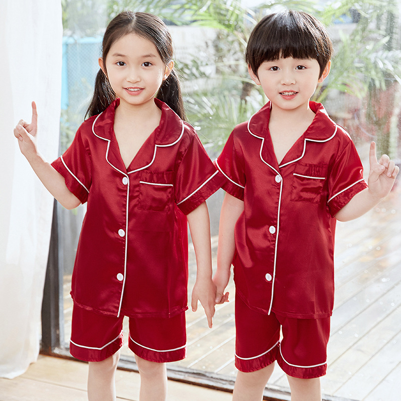[Xin] Meng Dai Bear CHILDREN'S Pajamas Cardigan Short Sleeve Shorts Satin Imitated Silk Fabric 8-18 Code