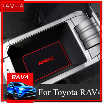 Anti-Slip Gate Slot Mat Rubber Coaster for Toyota RAV4 2016 2017 2018 Facelift XA40 RAV 4 Hybrid Accessories Car Sticker Styling image