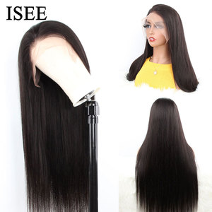 Image 2 - Straight Full Lace Human Hair Wigs For Women Pre Plucked 150% Density Human Hair Wigs ISEE HAIR Malaysian Straight Full Lace Wig
