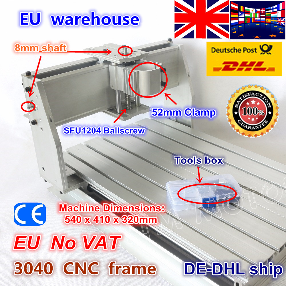 EU Ship Free VAT DIY 3040 CNC Router Engraver Engraving Milling Machine Mechanical Aluminium Frame SFU1204 Ballscrew CNC Kit