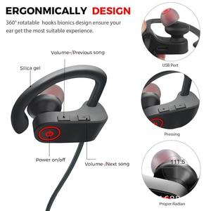 Image 5 - Sport Bluetooth Headphone Stereo Ear hook Wireless Earphones Waterproof Bluetooth 5.0 Headset With Microphone For iPhone Huawei