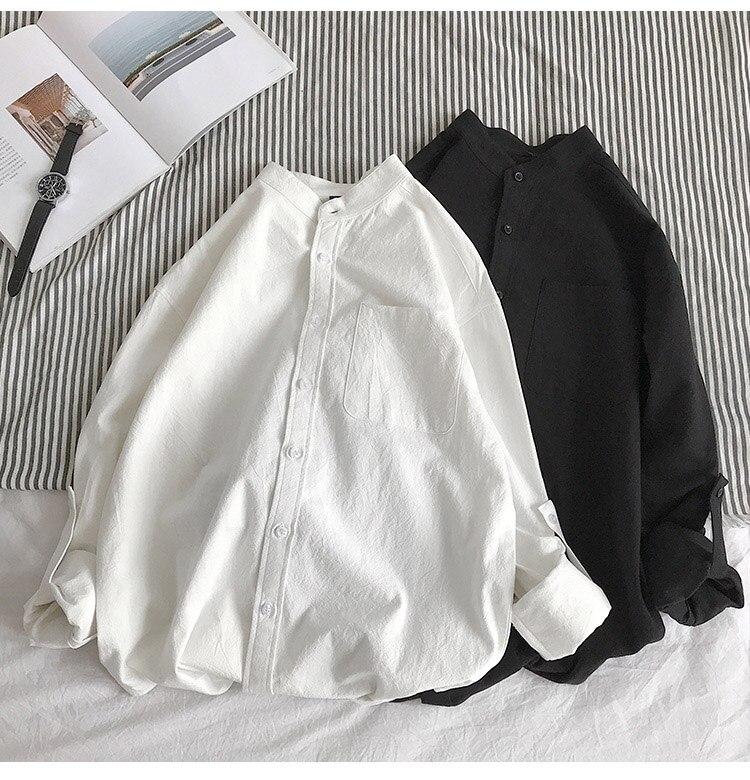 Hf1dfda6fd27a4df0ae75021dd7500461y Simple Design Solid Colors Long Sleeve Shirts Korean Fashion Mandarin Collar 100% Cotton White Black Shirt Soft and Comfort
