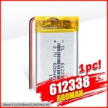 Batteries lithium-polymère, rechargeables, 612338, 3.7v, 600mAh, pour dvd, navigation GPS, 3/7V, 1/2/4 pièces