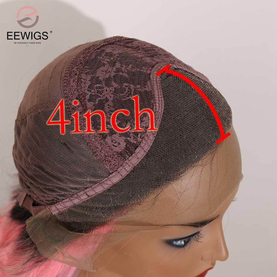 Eewigs Panjang Bergelombang 3 Tone Warna Ombre Wig Sintetis Tahan Panas Renda Depan Wig Alami Rambut Cosplay Wig untuk wanita