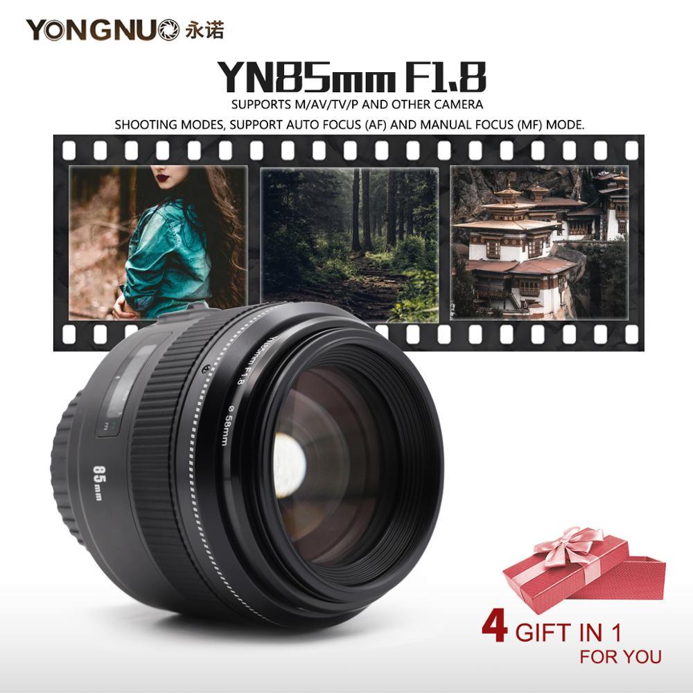 Yongnuo yn85mm f1.8 af/mf padrão médio telefoto prime lente 85mm lente da câmera focal fixa para câmeras eos da montagem de canon ef
