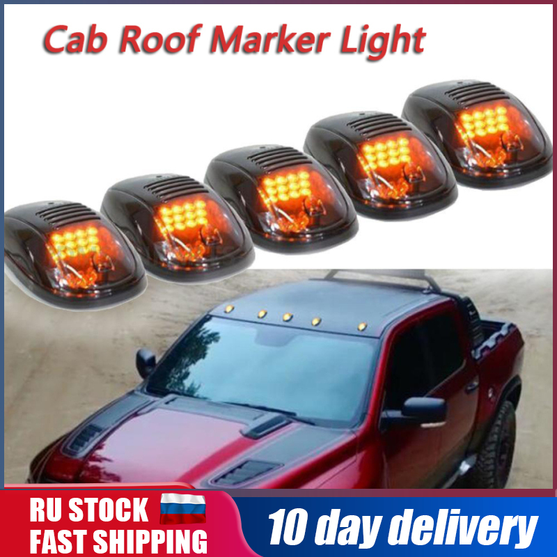 5 Pcs Smoked Lens 9 Amber LED Cab Marker Clearance Light Roof Running Light Assembly for 2003-2016 Dodge Ram 1500 2500 3500 4500 5500