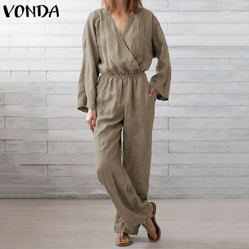 VONDA Overalls For Womens 2019 Sexy V Neck Long Sleeve Bohemian Rompers Women Jumpsuits Plus Size Pants Vintage Solid Playsuits