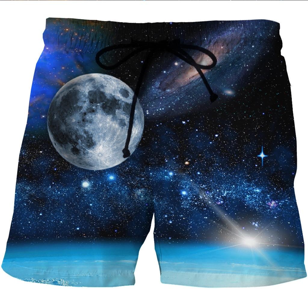 Новые европейские и американские мужские быстросохнущие пляжные шорты с 3D космическим принтом и повседневные шорты с боковыми карманами