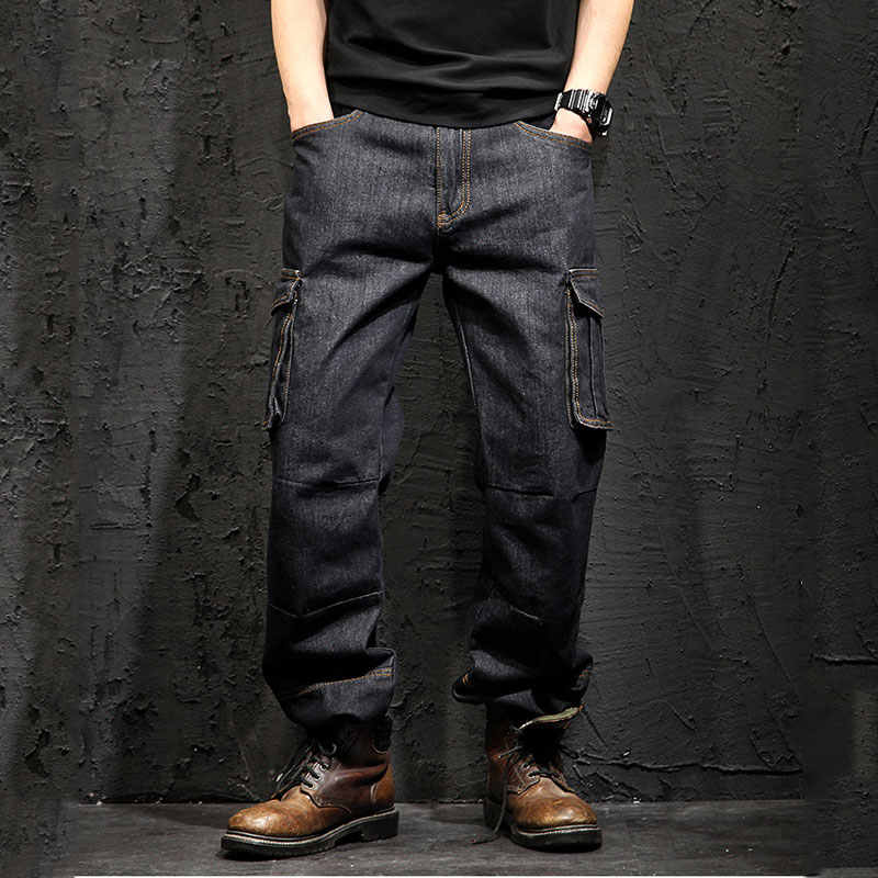 Idopy Multi-pocket Cargo Jeans Loose Straight Grote Maat 29-46 Militaire Leger Denim Broek Broek