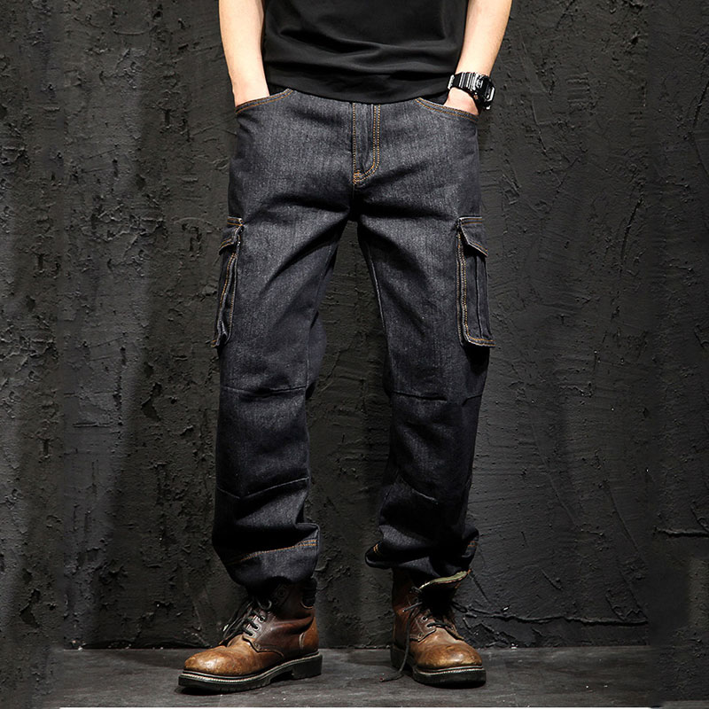 Idopy Multi-pocket Cargo Men's Jeans Loose Straight Large Size 29-46 Military Army Denim Pants Trousers