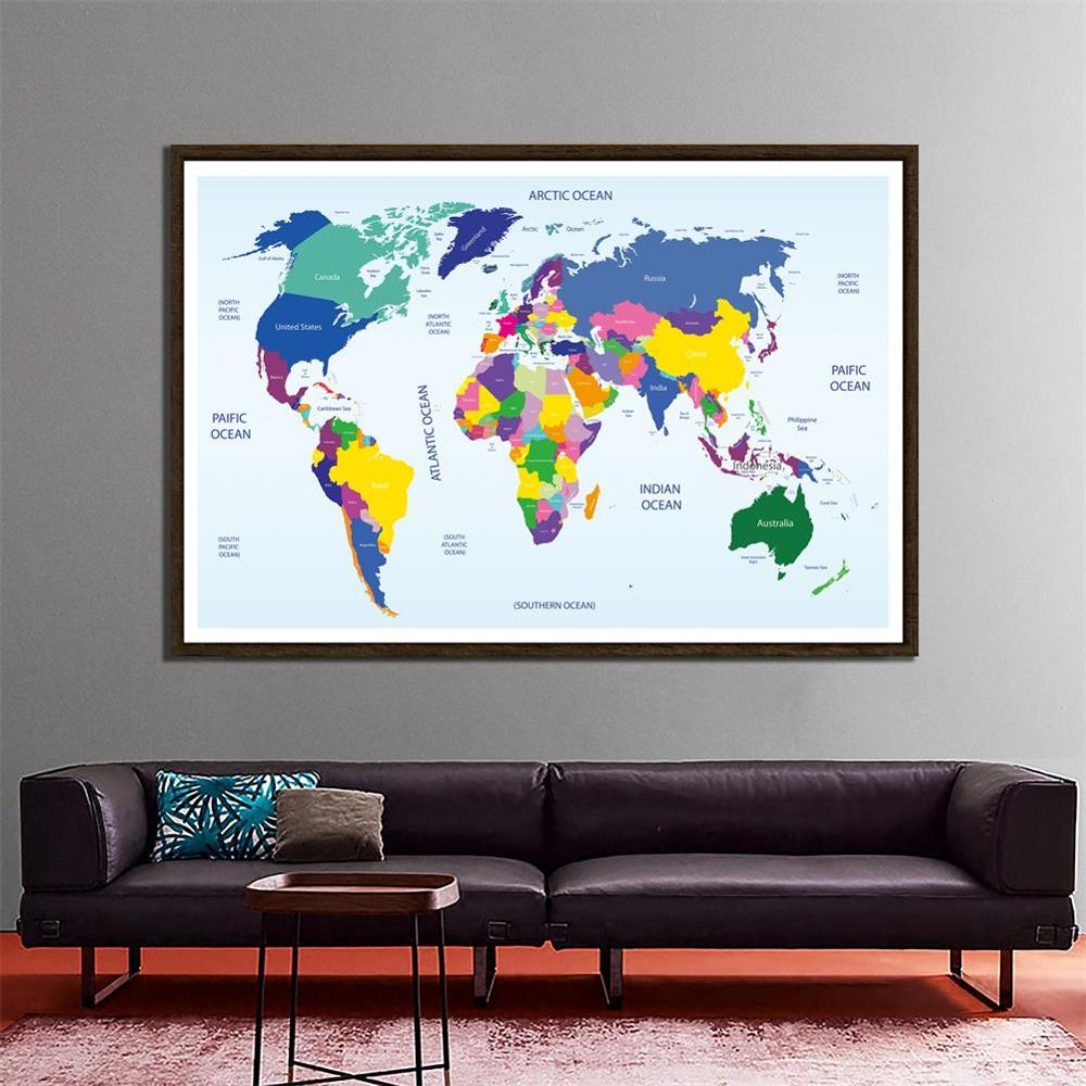 150x225cm Colorful Country Plate World Map Made With Non-woven Vinyl Spray Painting For Home Office Wall Decor