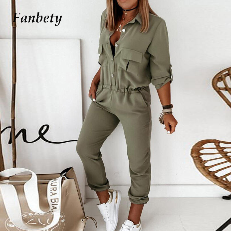 Women Elegant Casual Long Sleeve Pocket Loose Overalls Spring Summer Fashion Solid Color Turn-Down Collar Jumpsuits Streetwears