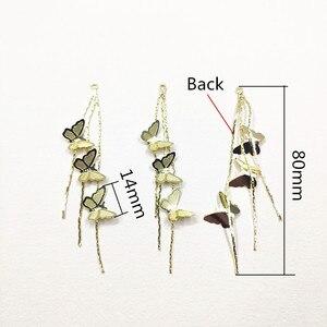Image 2 - Новое поступление! 80x14 мм 30 шт. бабочка с цепочкой Шарм/соединители Разъемы для ожерелья, серьги запчасти, ювелирные изделия ручной работы DIY