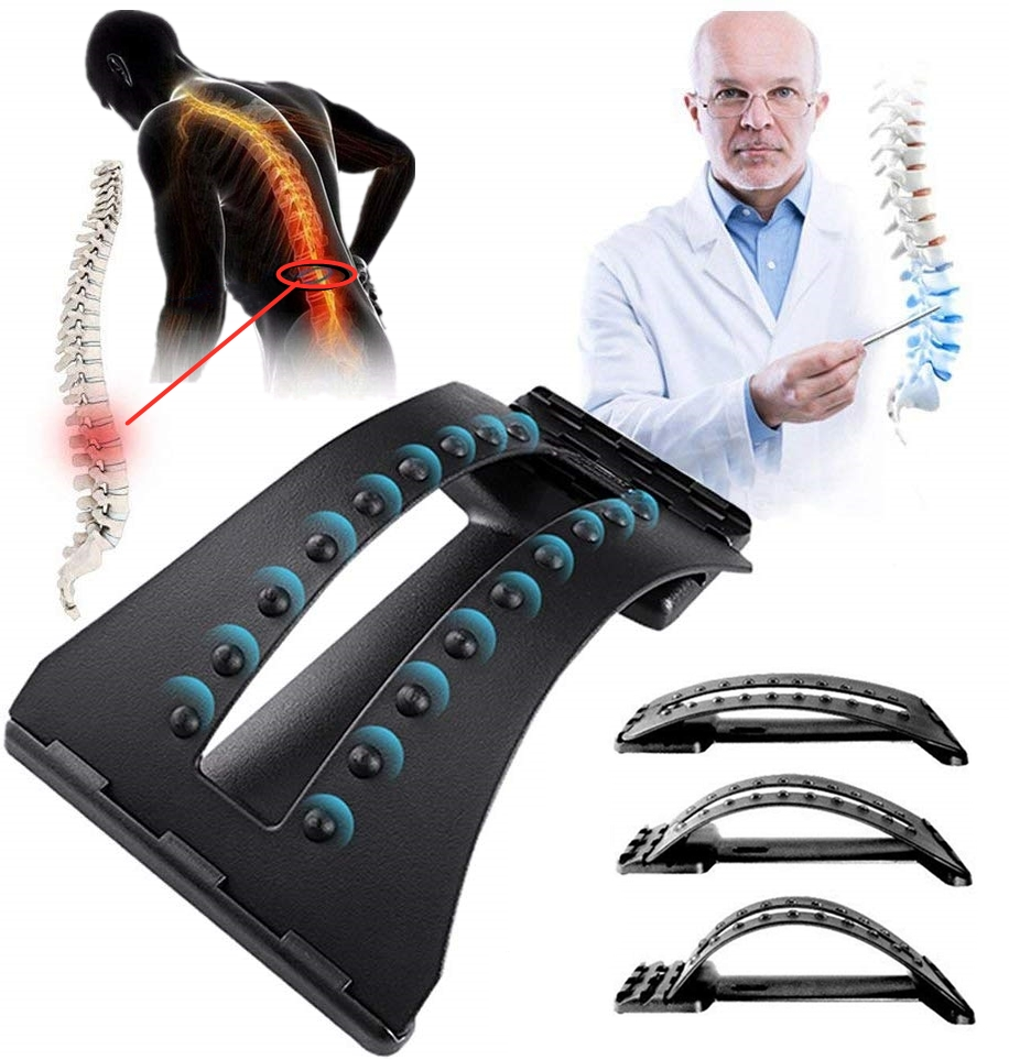 Stretching-Device Spine Back-Massage Chiropractic Lumbar-Support Pain-Relief 3-Level title=