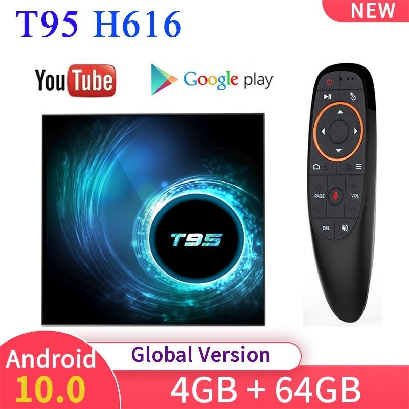 Новый Android 10,0 T95 Смарт ТВ коробка 6K H616 4 Гб оперативной памяти, 32/64GB 4 ядра WI FI медиа проигрыватель Youtube Декодер каналов кабельного телевидения PK X96/HK1/H96 MAX ТВ-приставки и медиаплееры      АлиЭкспресс