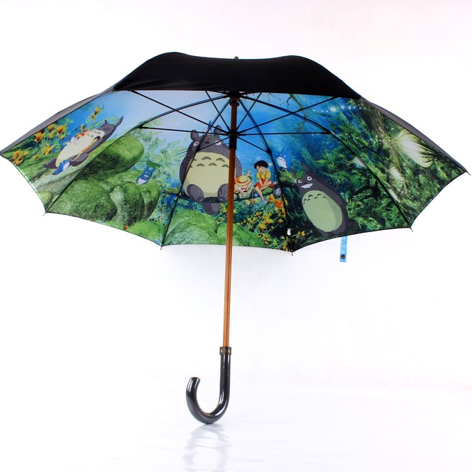 Currently Available Wood Umbrella Rib Double Layer Totoro Straight Pole Long Umbrella Foreign Trade Parasol All-Weather Umbrella