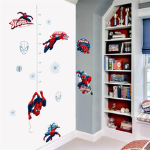 Cartoon Hero Spiderman Growth Chart Wall Stickers Bedroom Home Decor Marvel Height Measure Decals Pvc Poster Diy Mural Art