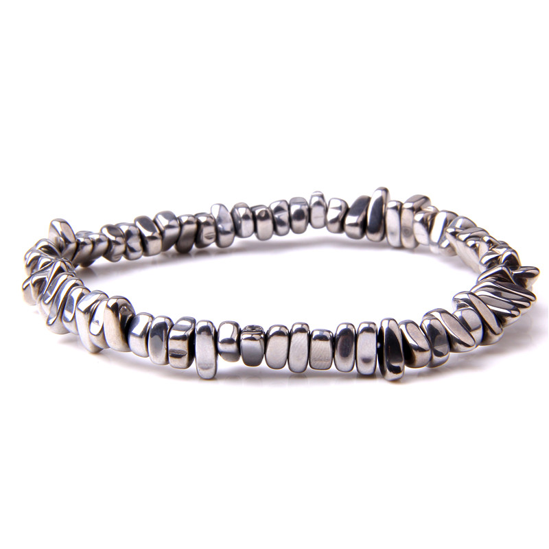 Natural Hematite Chips <font><b>Beads</b></font> <font><b>Bracelets</b></font> <font><b>Men</b></font> Fashion 2019 Hot Selling Raw Gem Stone No Magnetic Gravel Hematite Bangles For Women image