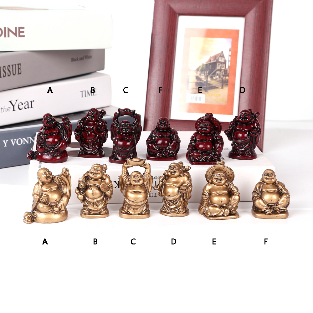 Resin Maitreya Home Feng Shui Ornaments Laughing Buddha Big Belly Buddha Crafts Ornaments Set Six Buddha Group