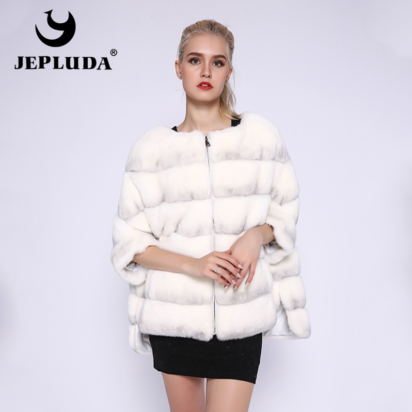 JEPLUDA Hot Sale Natural Rex Rabbit Fur Coat Women Winter Many Colors O-Neck Zipper Real Fur Coat Women Warm Real Fur Jacket