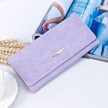 Модный женский кошелек, женский кошелек, брендовый, матовый, замшевый, на молнии, длинные кошельки, для женщин, Одноцветный, на застежке, ID, держатель для карт, карман для телефона