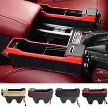 Organizador da caixa de armazenamento do suporte do telefone da fenda do assento do veículo do carro com porta de carregamento usb