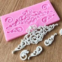 Gran oferta DIY artesanía de azúcar pastel Vintage relieve borde silicona molde Fondant molde decoración herramientas goma pasta molde