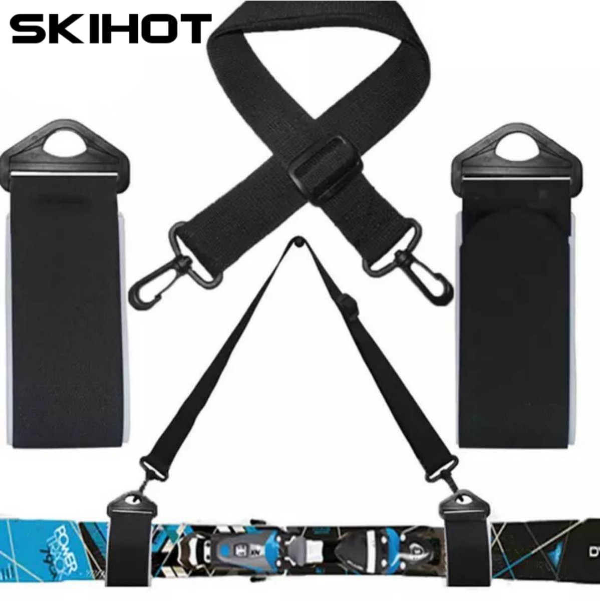 SKIHOT Snowboard Pole Shoulder Strap With Bode Hook Adjustable Nylon Ski Handle Strap