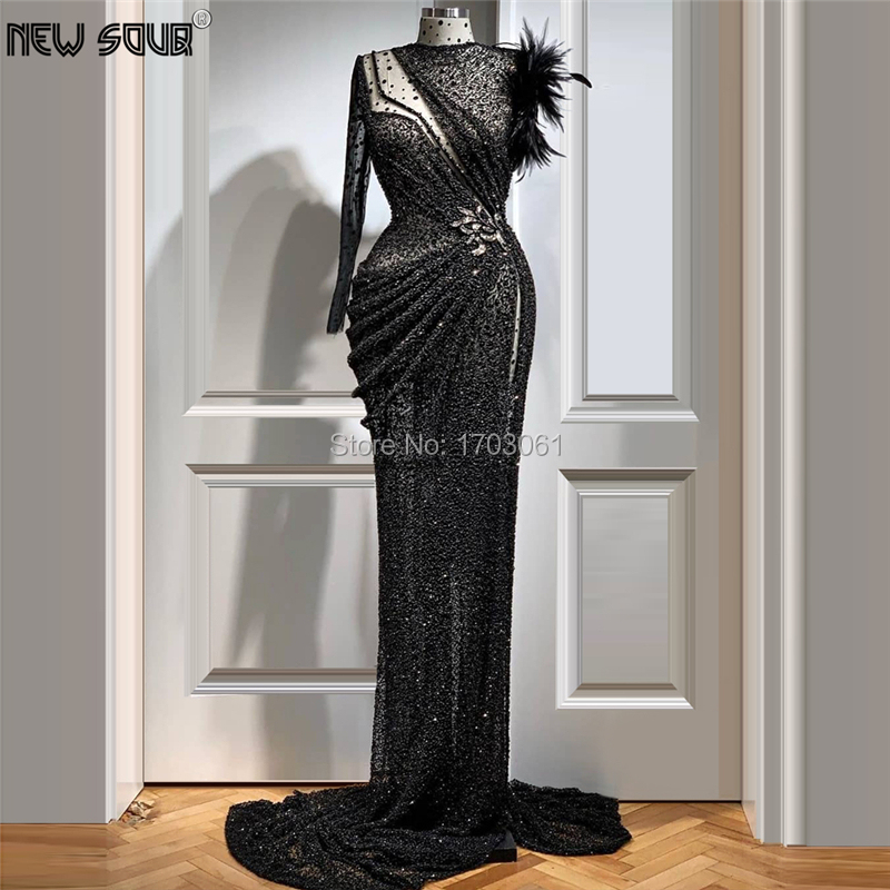 Sheer Design Beaded Evening Dresses Feathers Party Dress 2020 Customize Dubai Arabic Mermaid Prom Dress Robe De Soiree Kaftans
