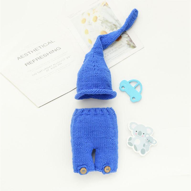 Newborn Photography Props Crochet Hat Pants Handmade Infant Baby Photo Outfits K1KC