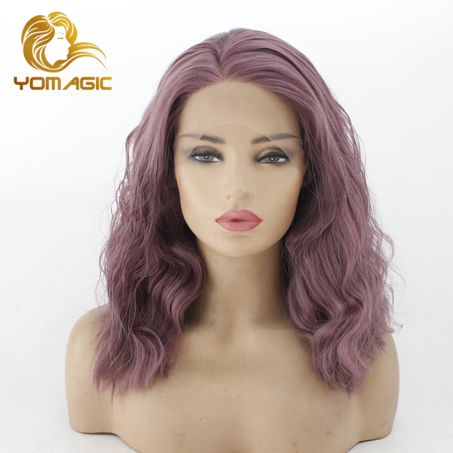 Yomagic Hair Purple Color Lace Front Wigs For Women Synthetic Hair Glueless Lace Wigs With Natural Hairline