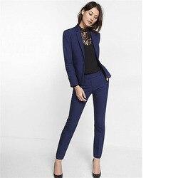 Navy Blau Frauen Anzug Slim Fit Frauen Smoking Schal Revers Anzüge Für Frauen Eine Taste Formale Business Frauen Anzüge Zwei stück Sets