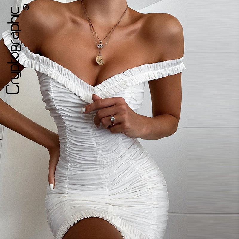 Cryptographic Sexy Sleeveless Off Shoulder Solid Mini Dress Backless Slim Pencil Bodycon Dresses Women 2019 Ruffles