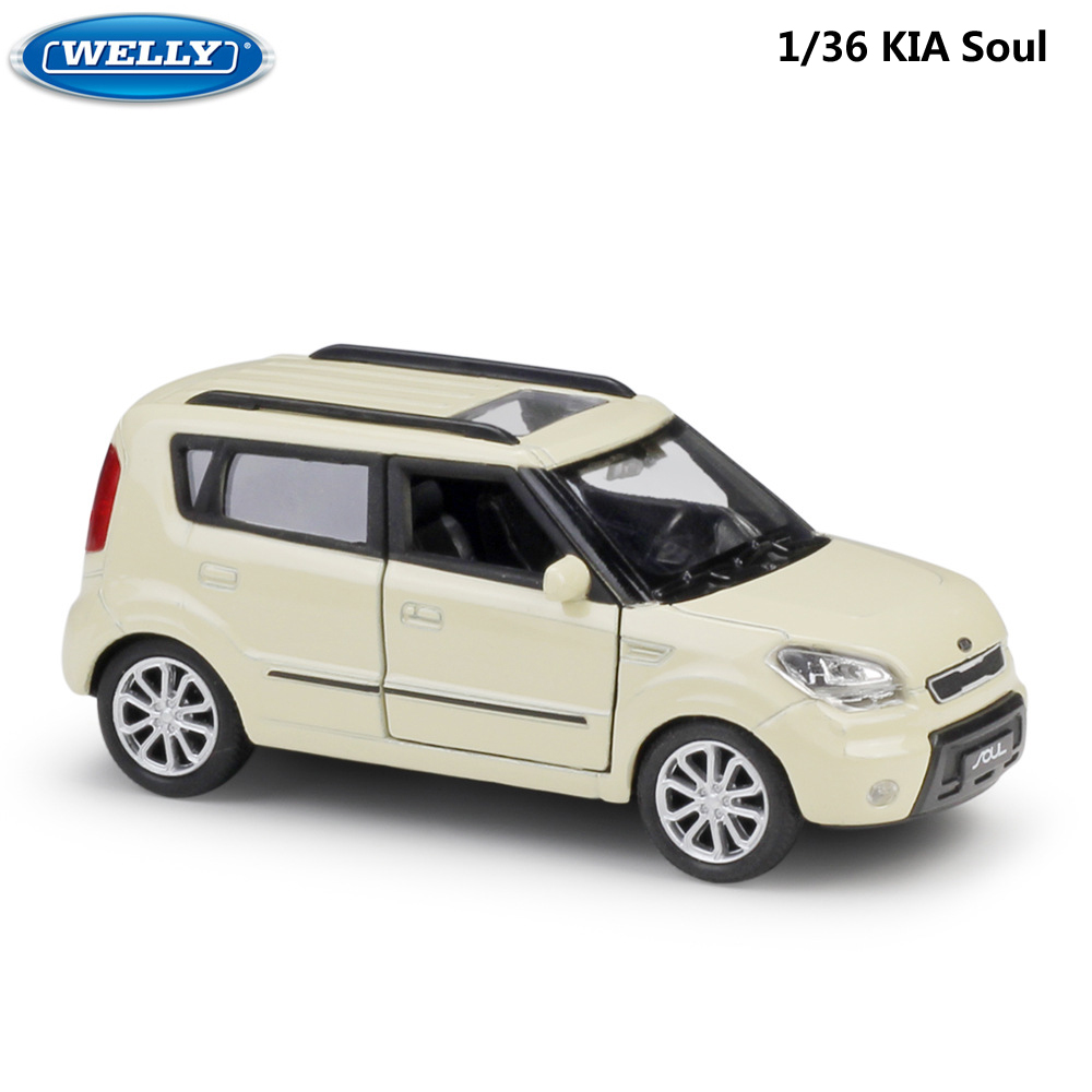 WELLY Diecast 1:36 Scale KIA Soul High Similator Toy Vehicle Model Car Pull Back Alloy Metal Toy Car For Kids Gifts Collection