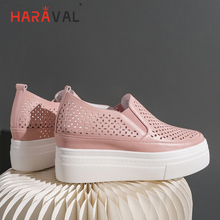 HARAVAL Fashion simple solid color womens shoes round head thick bottom hollow high heels summer breathable white sneakers N103
