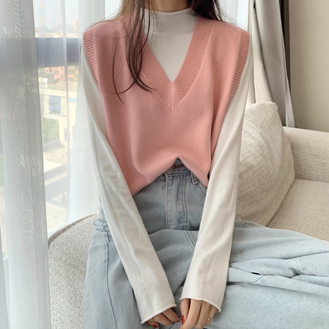 Ailegogo Spring Autumn Women's Sleeveless Knitting Vest Female V Neck Solid Color Casual Knitted Sweater Ladys Slim Knit Tops 4