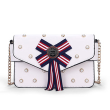 New Ladies Chain Shoulder Bags Pearl Bow PU Leather Small Square Bag Messenger Fashion Party