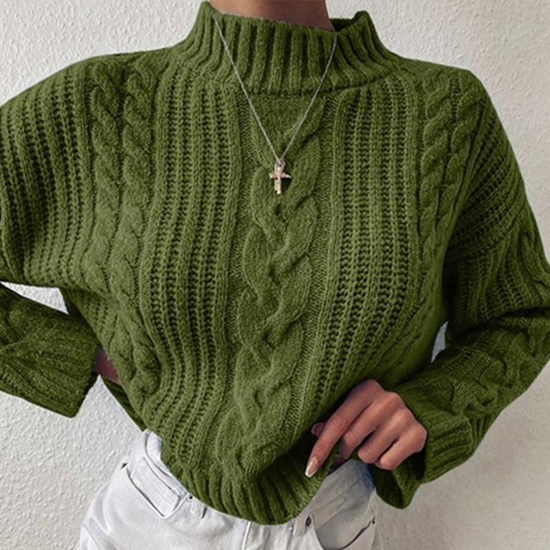 Женский вязаный пуловер с длинным рукавом Twist, однотонный Повседневный свободный свитер с высоким воротом, зима 2020| |   | АлиЭкспресс