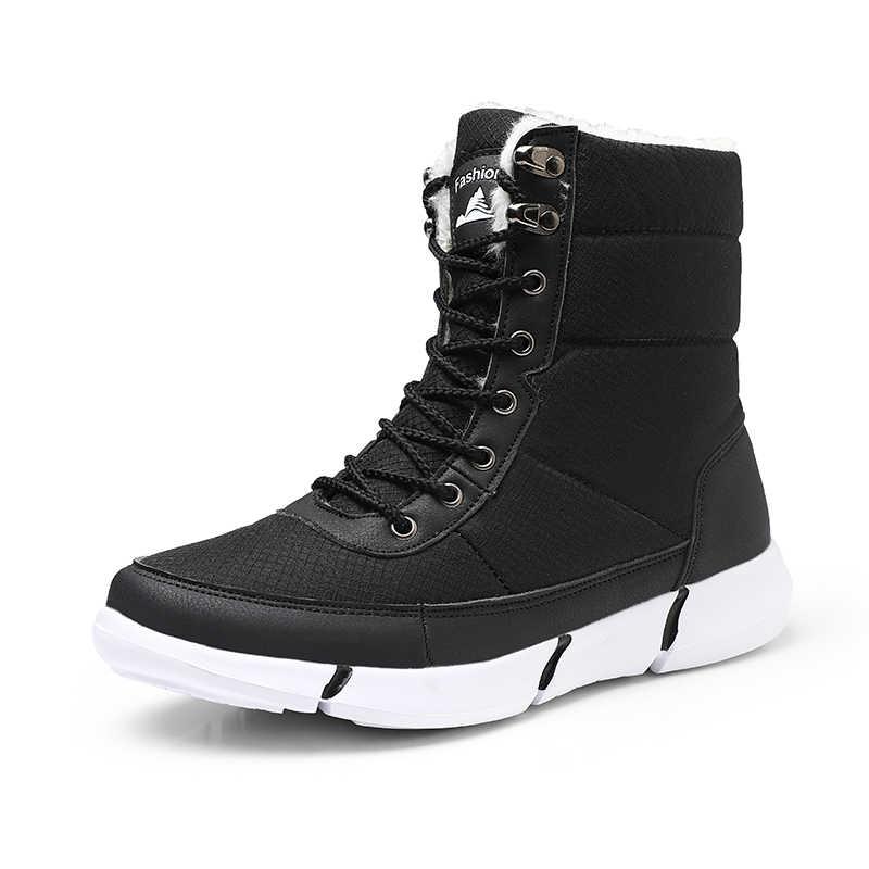 Erkek botları 2019 kış su geçirmez kar erkek botları ayakkabı kürk peluş sıcak erkek rahat kadın orta buzağı çizme sneakers Unisex