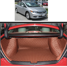 Lsrtw2017 Leather Car Trunk Mat Cargo Liner for Honda Civic 2011 2012 2013 2014 2015 9th Civic Rug Carpet Interior Accessories overe 1set car cargo rear trunk mat for honda civic 2009 2010 2011 2012 2013 2014 2015 boot liner tray anti slip mat accessories