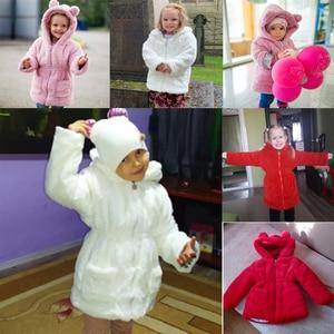 Image 5 - תוספות חם בנות חורף מעיל 1 7 שנים בנות מעיילי סלעית קריקטורה אוזני ארנב בתוספת קטיפה עיבוי למטה 4 צבע ילדים מתנה