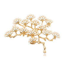Irregular Pine Branch Brooches for Women Gold Silver Color Pin Brooch Imitation Pearl Geometric Multilayer Flower Female Jewelry cmajor flower shaped brooch with pearl jewelry silver gold color brooches for women