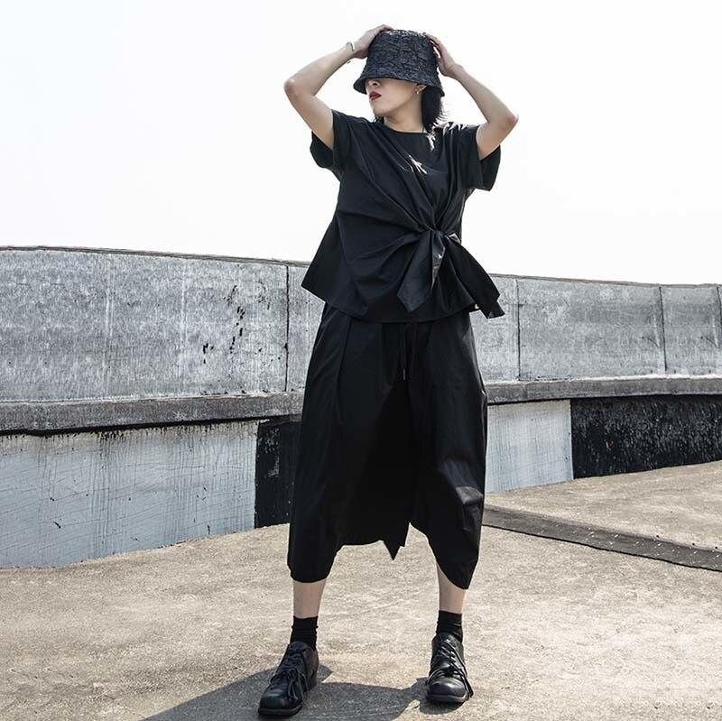 [EAM] Women Black Irregular Knot Split Big Size T-shirt New Round Neck Short Sleeve  Fashion Tide  Spring Summer 2020 1W254 6