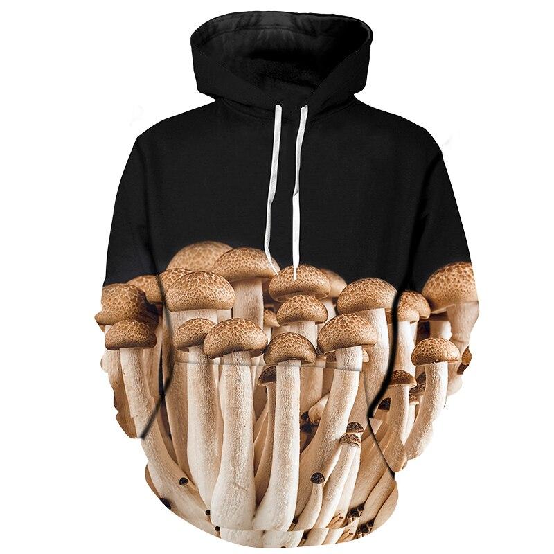 New Men 3d Hoodies Mushrooms Black Harajuku Design Sweatshirts Male Casual Zipper Customize